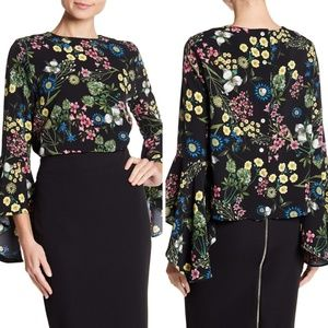 NWT Floral Bell Sleeve Blouse